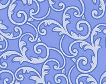 "Blue with White Scrolls 108"" quilt fabric, Kanvas by Benartex,  6334W-50"