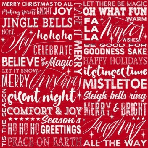 "Red Holiday Words, 44"" fabric, Henry Glass, 6925-88, Holiday Wishes"