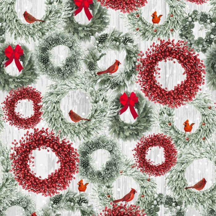 "Holiday Wreaths, 44"" fabric by Henry Glass, 6931-66, Holiday Wishes"