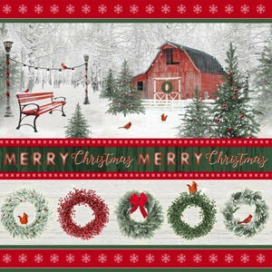 "Holiday Wreaths border stripe,  44"" fabric, Henry Glass  6933-86 Holiday Wishes"