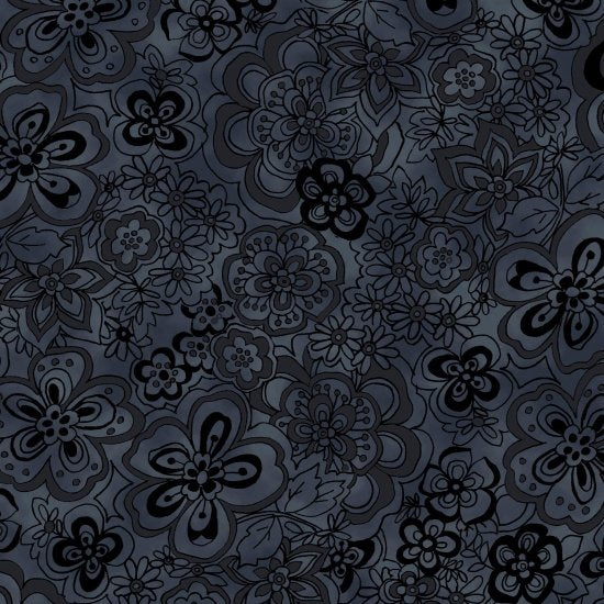 "Blank Quilting 108"" Fabric BTR6939 Black Isadora Floral"