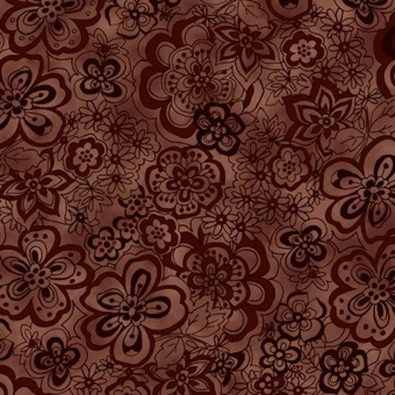 "Chocolate Brown Flowers 108"" fabric by Blank Quilting, Isadora,  BTR 6939"
