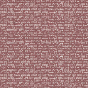 "Words to Live by Red, white words, Contempo Studio, 44"" fabric, 7705B-10"