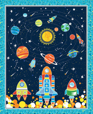 "Navy blue All Systems Glow, spaceship & planets, 36"" x 44"" from Kanvas by Benartex, 7948GL-55"