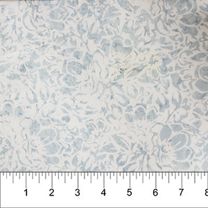 "Light Grey Boho Beach Flowers,  Banyan Batiks, Northcott, 44"" batik, 80216-91"