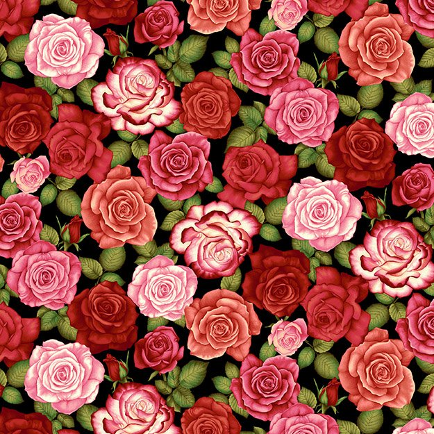"Red and Pink Roses 44"" fabric by Henry Glass, Botanica III, Scarlet, 8419-99"