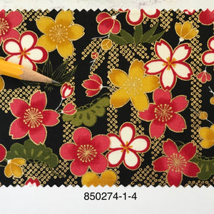 "Oriental flowers with metallic 44"" fabric, Sevenberry 850274-1-4"
