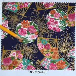 "Oriental Fans and floral with metallic 44"" fabric, Sevenberry 850274-4-3"