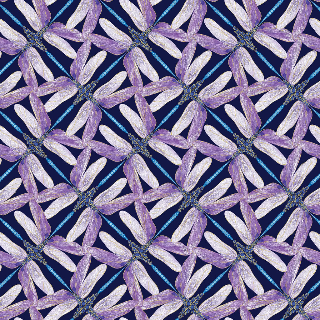 "Navy Pinwheel Geo Dragonflies Metallic 44"" fabric by Kanvas, Dragonfly Dance,  8502M-68"