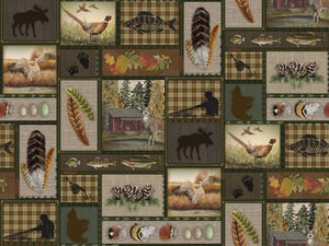 "Brown Sunrise Ridge patches, 44"" fabric, Blank Quilting, 8907-039"