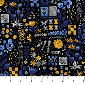"Figo 44"" Eloise Garden Blue 90031-53 sold by the 1/4 yard"