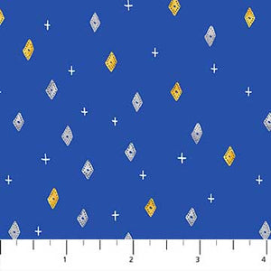 "Modern blue with diamonds 44"" fabric by Figo, 90034-42, Eloise Garden"