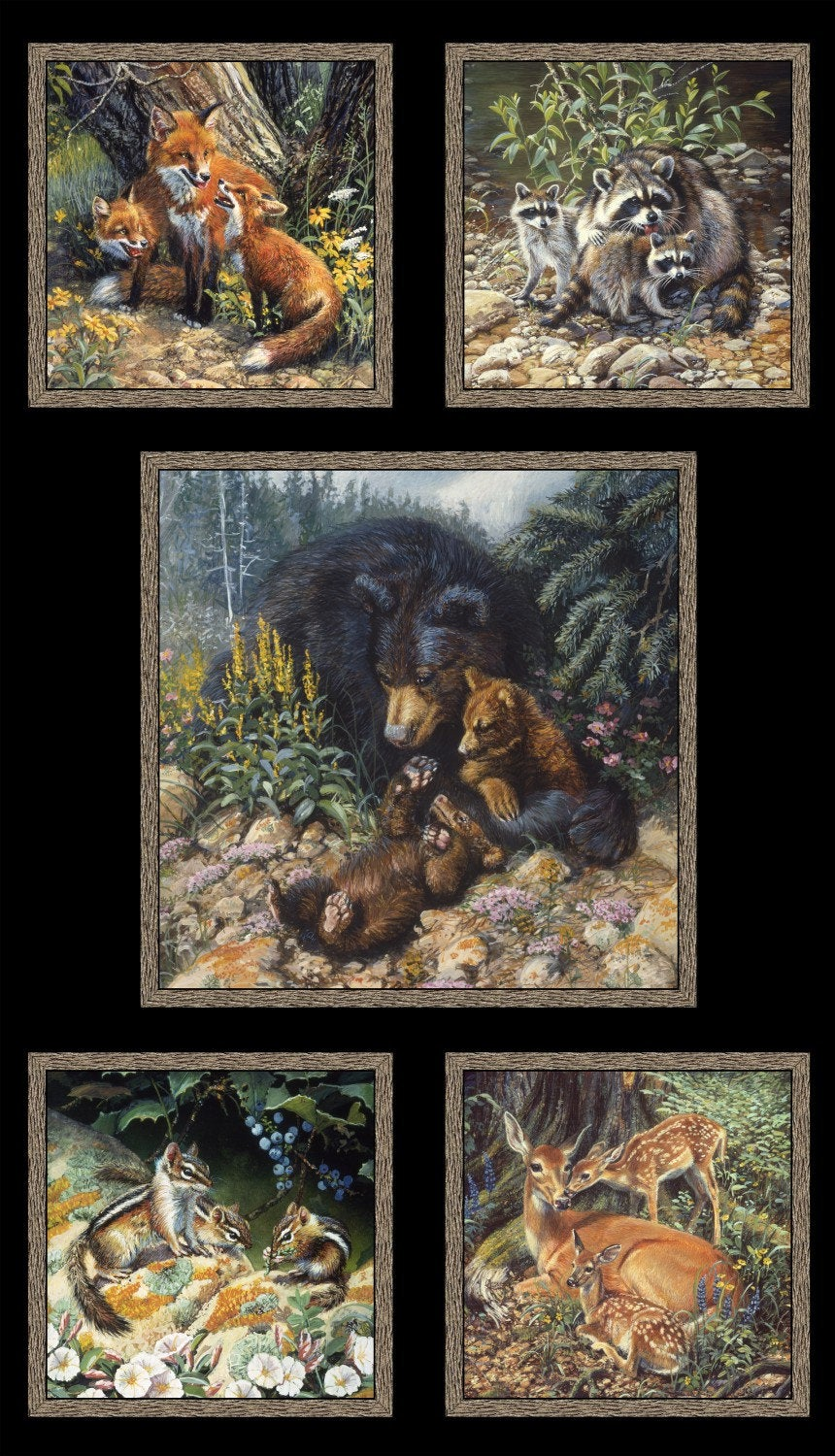 "Black Woodland animal families, 24"" panel, Elizabeth's Studio, 9100-black"