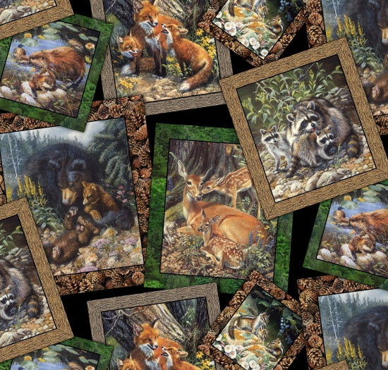 "Woodland animal families, 44"" quilt fabric, Elizabeth's Studio, 9102-black"
