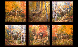 "Deer during fall (autumn), 6 blocks 24"" x 44"" panel, Elizabeth's Studio, 9200-black, Autumn Surprise"