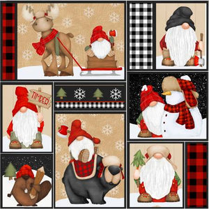 "Multi Gnomes Patchwork 44"" fabric, Henry Glass, Timber Gnomies,  9269-89"