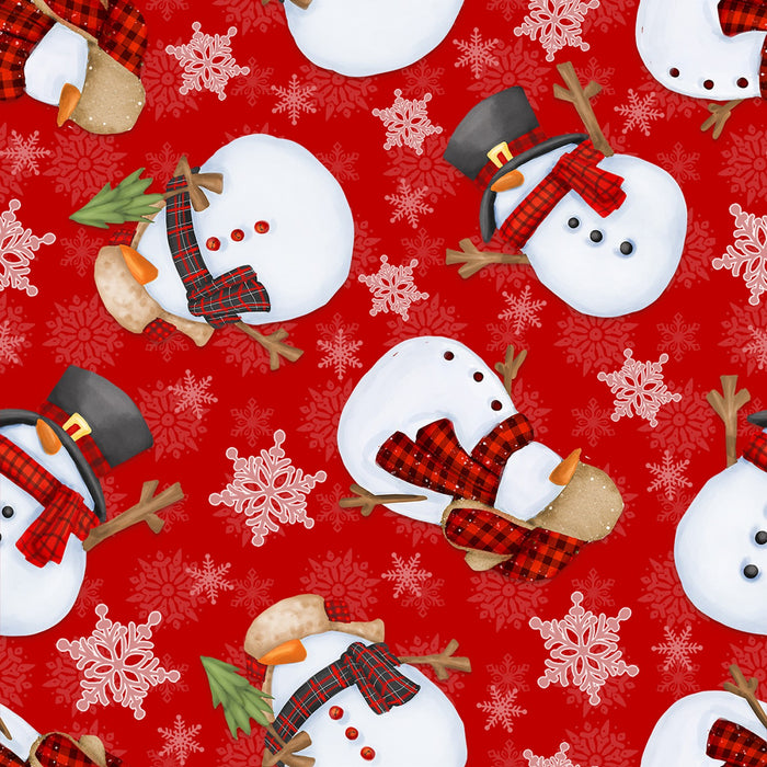 "Red Tossed Snowman 44"" fabric, Henry Glass, Timber Gnomies, 9272-88"