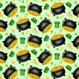"Green Tossed Pot of Gold 44"" fabric by Henry Glass, 9367-69, Pot of Gold"