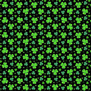 "Black Tossed Shamrocks - Clover 44"" fabric by Henry Glass, 9368-96, Pot of Gold"