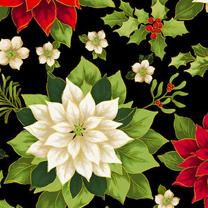 "Black / Multi Poinsettia 108"" fabric by Benartex, 9749W-99, Joyous Garden"