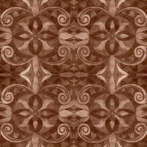 "Brown Baroque 108"" digital fabric by Blank,  9777-39"