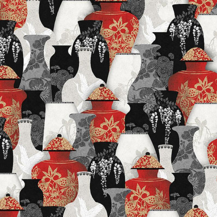 "Oriental Vases digital 44"" fabric by Blank Quilting, 9927-88, Narumi"