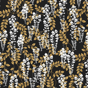 "Black Wisteria digital 44"" fabric by Blank Quilting, 9937-99, Narumi"