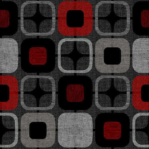 "Black & Red Geo Square 108"" fabric, Blank  Quilting, 9986-88"