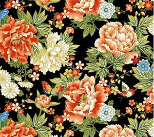 "Large overall flowers black background 44"" fabric, Northcott, metallic, 23270M-99, Kyoto Garden"