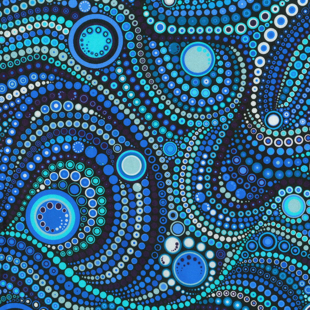 "Blue water circles and dots Effervescence,108"" quilt fabric, Robert Kaufman, AAQXD-18493-246"