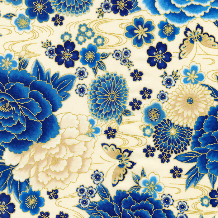 "Indigo Peonies Asian Inspired Floral w/Metallic by Robert Kaufman  44"" fabric"