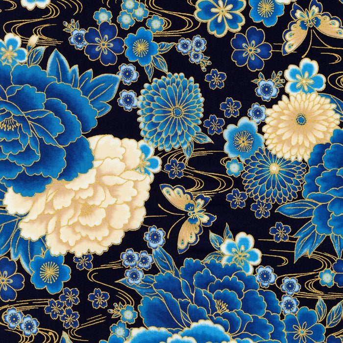 "Asian Inspired Floral Blue Peonies with Metallic by Robert Kaufman 44"" fabric, 18622-9"