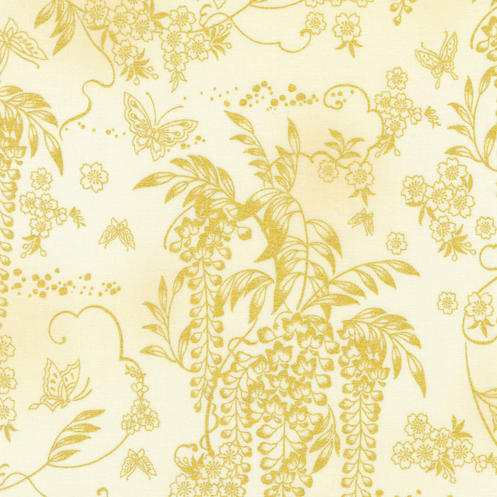 "Ivory Asian Inspired Butterfly & Floral with Metallic Wisteria, Robert Kaufman, 44"" fabric, 18624-15"