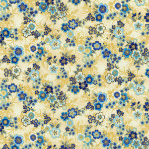 "Indigo Asian Inspired Floral with Metallic, Robert Kaufman, 44"" fabric"