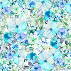 "Teal Watercolor floral 108"" fabric, P&B Textiles, Arabesque ARAW4234-T"