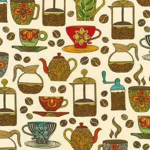 "Ivory Coffee Allover 44"" fabric, Robert Kaufman, Avod-19580-15, Coffee Break"