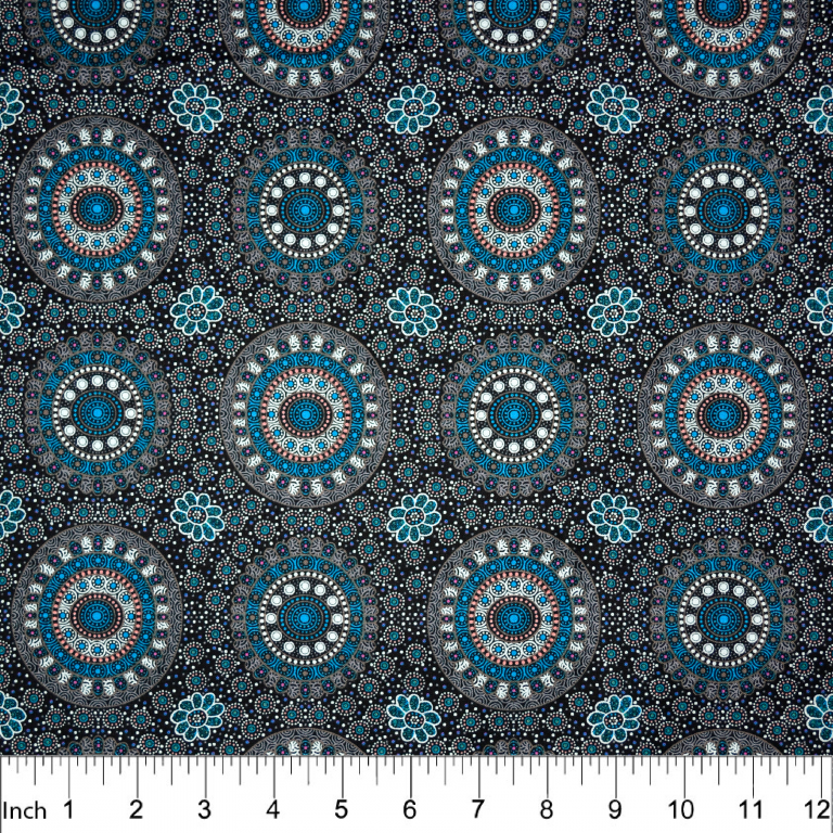 "Alura Seed Dreaming Blue Aboriginal 44"" fabric, M&S Textiles, ASDBL"