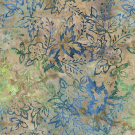 "Flower and Leaves 106"" batik, Timeless Treasures, B6865 - Sky"