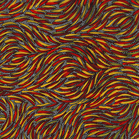 "Aboriginal Bush Yam Red 44"" fabric by M&S Textiles, BYR"