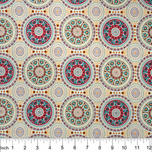 "Bush Berry Ecru Aboriginal 44"" fabric, M&S Textiles, BUBE"