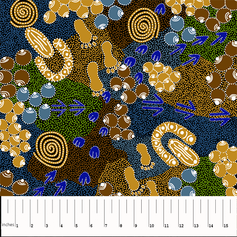"Aboriginal Bush Plum Dreaming Gold 44"" fabric by M&S Textiles, BPDGO"