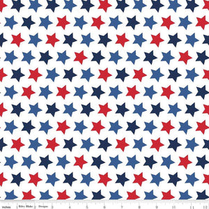 "Patriotic Stars 44"" fabric by Riley Blake, C315-Patriotic"