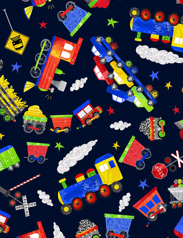 "Novelty Trains, blue background 44"" fabric by Timeless Treasures, Fun-C7338"