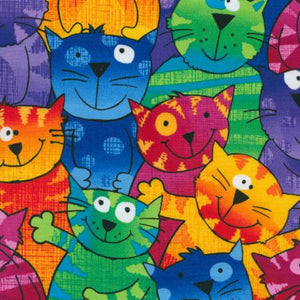 "Multi-colored Cats 44"" fabric by Timeless Treasures, C9327-multi"
