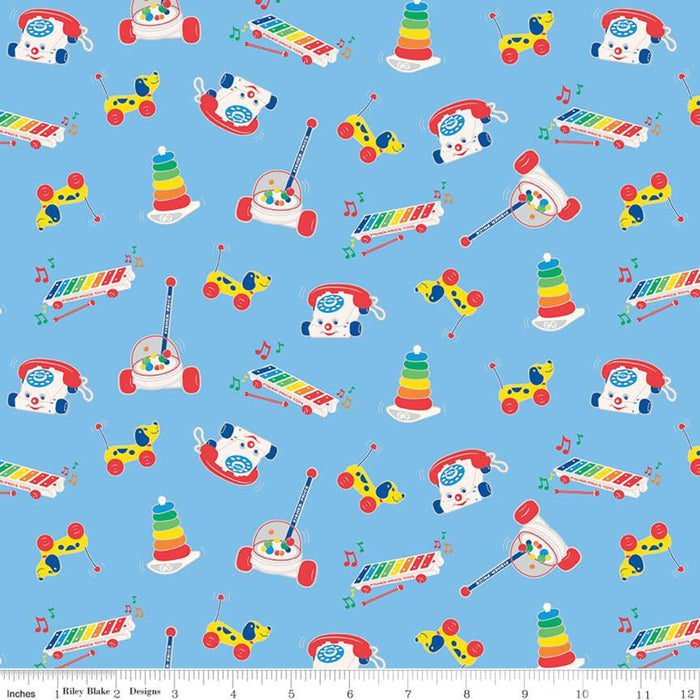 "Fisher-Price Toys Blue 44"" fabric by Riley Blake, C9762-Blue"