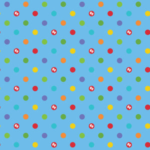 "Fisher-Price Blue dots 44"" fabric by Riley Blake, C9764-Blue"