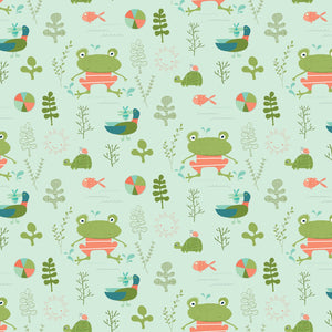 "Green Frogs and Turtles 44"" fabric, Riley Blake, C9890-pistachio, Ready, Set, Splash"