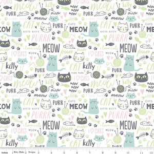 "Cats & Text 44"" fabric by Riley Blake, C9902-White, Purrfect Day"