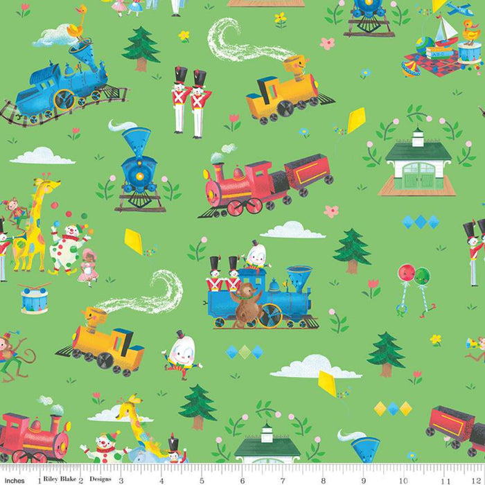 "The Little Engine That Could Main Green 44"" fabric by Riley Blake, C9990-Green"