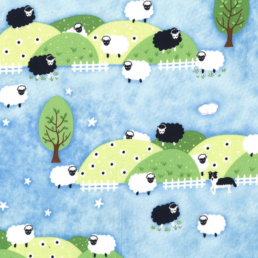 "Blue Counting Sheep 44"" fabric by Michael Miller, CX8368-boy"